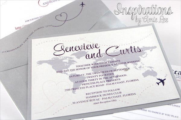 -Travel Themed Wedding Invitation