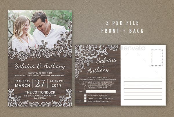 -Vintage Floral Wedding Invitation