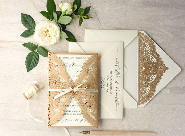 -Vintage Lace Wedding Invitation