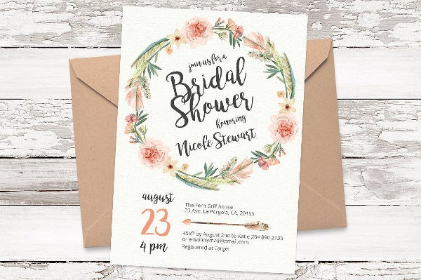 -Floral Bridal Shower Invitation
