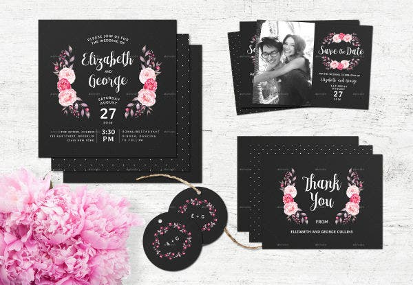 -Chalkboard Photo Wedding Invitation
