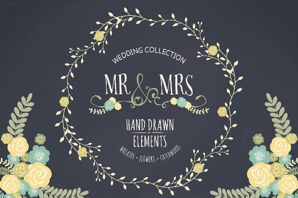 -Floral Chalkboard Wedding Invitation