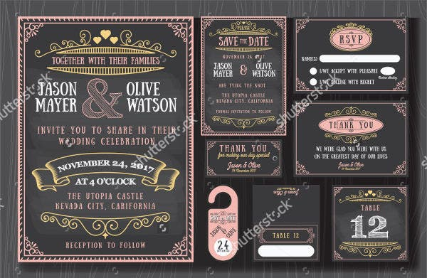 -Vintage Chalkboard Wedding Invitation