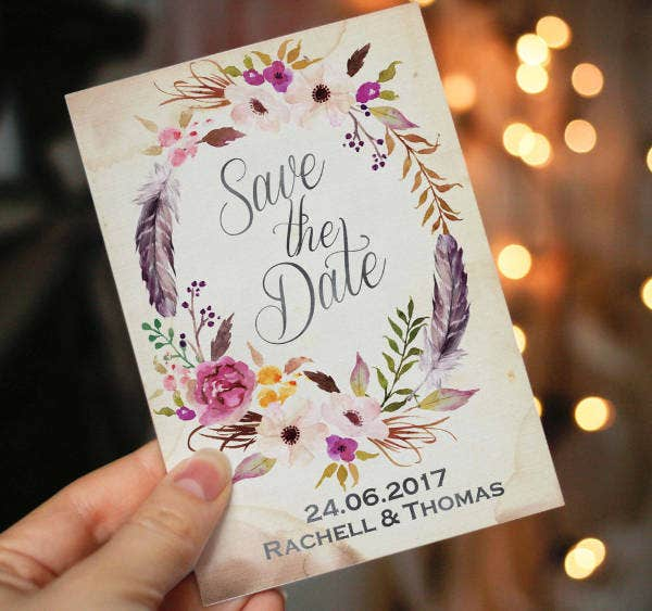 -Watercolour Floral Wedding Invitation
