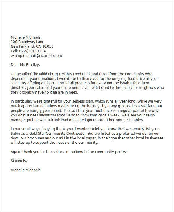 professional business thank you letter example