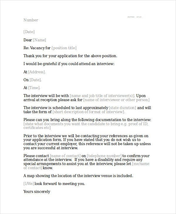 thank you letter for job interview invitation example