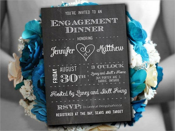 formal engagement dinner invitation