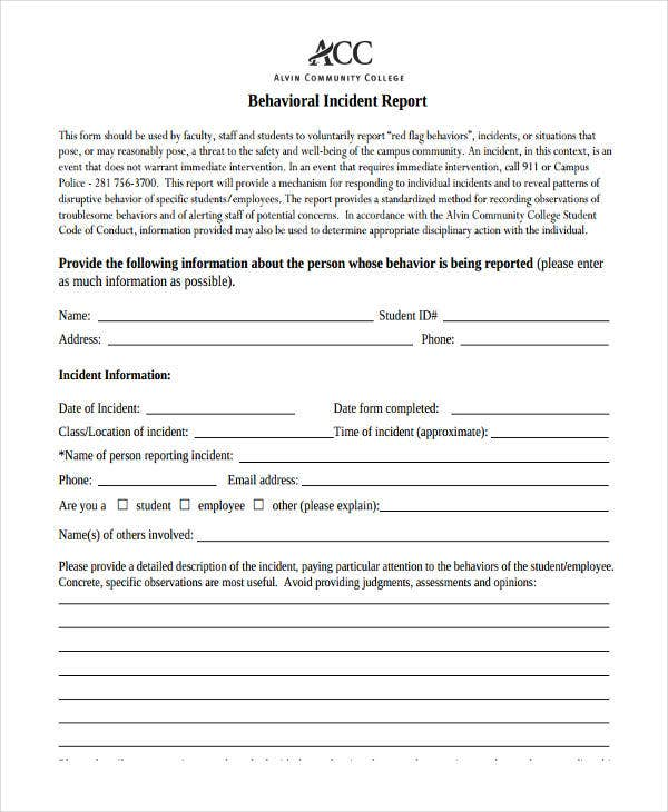 employee behavior incident report3
