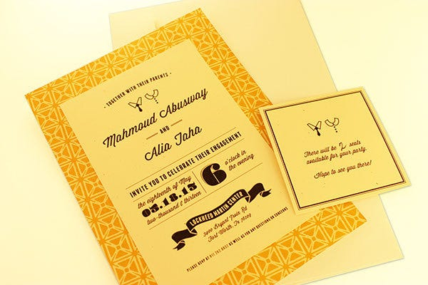 free vintage engagement invitation