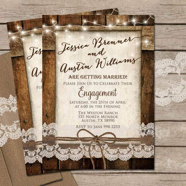 rustic lace engagement invitation1