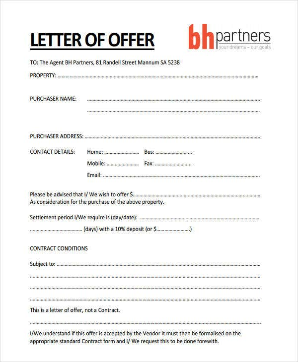 offer for property letter