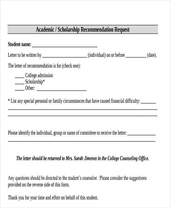 33 Recommendation Letter Format Templates – Scholarship Recommendation Letter Format