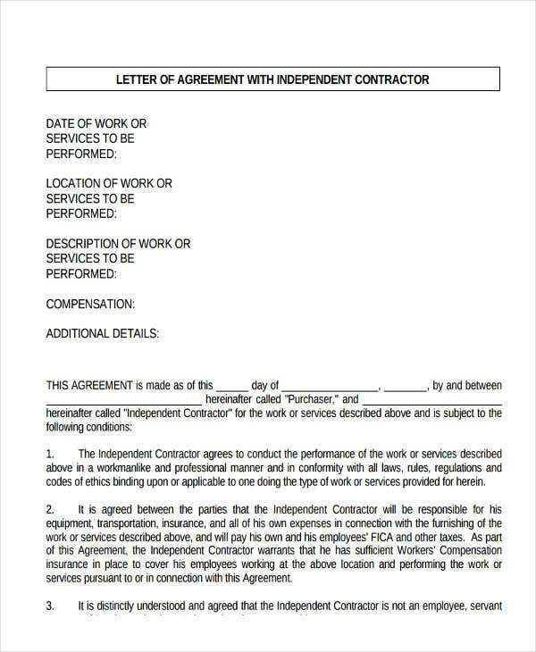 contractor offer letter