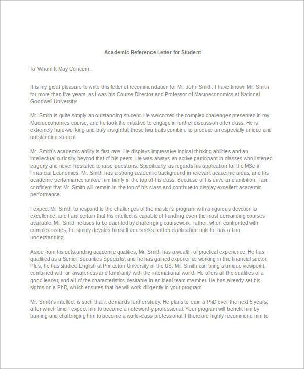 Academic Reference Letter Ideas Of Sample Reference Letter Uk