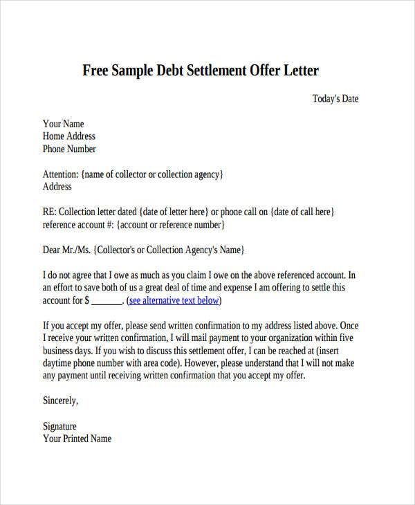 73 offer letter templates free premium templates debt settlement offer spiritdancerdesigns Images