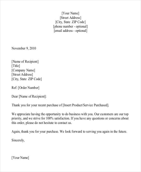 Thank You For Your Business Letter Template