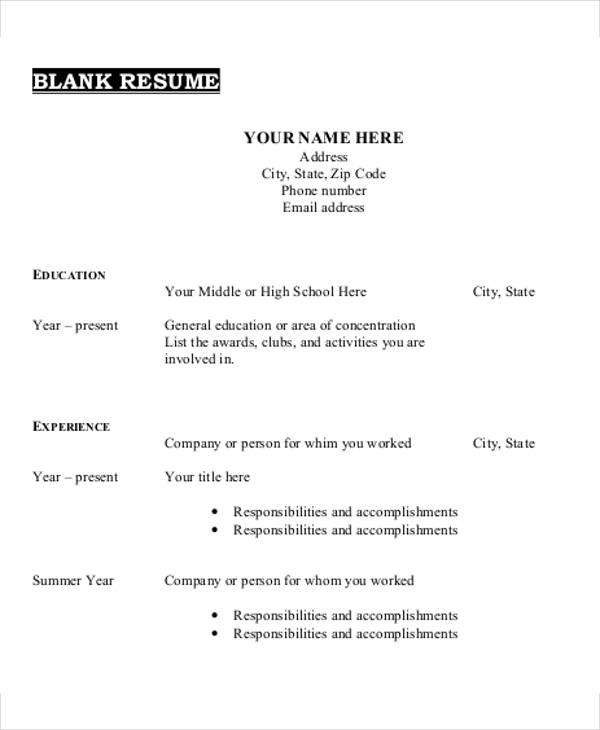 blank simple resume template
