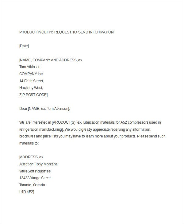 Product Inquiry Business Letter  Format Of Letter Of Enquiry