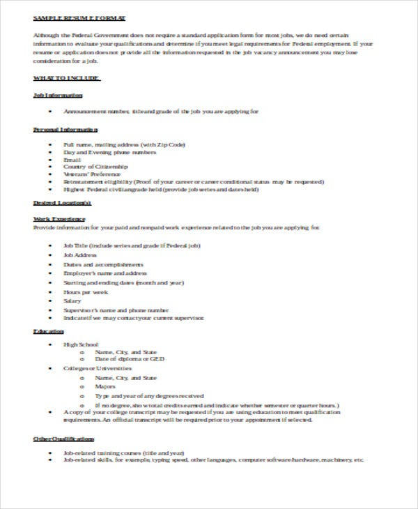 sample resume format doc