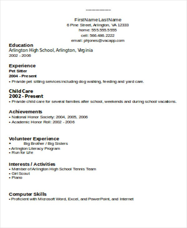 simple resume format in doc - Pet Sitter Resume