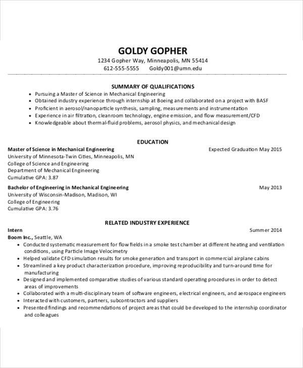 cv resume template - Boeing Mechanical Engineer Sample Resume