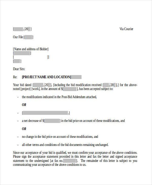 bid offer acceptance letter
