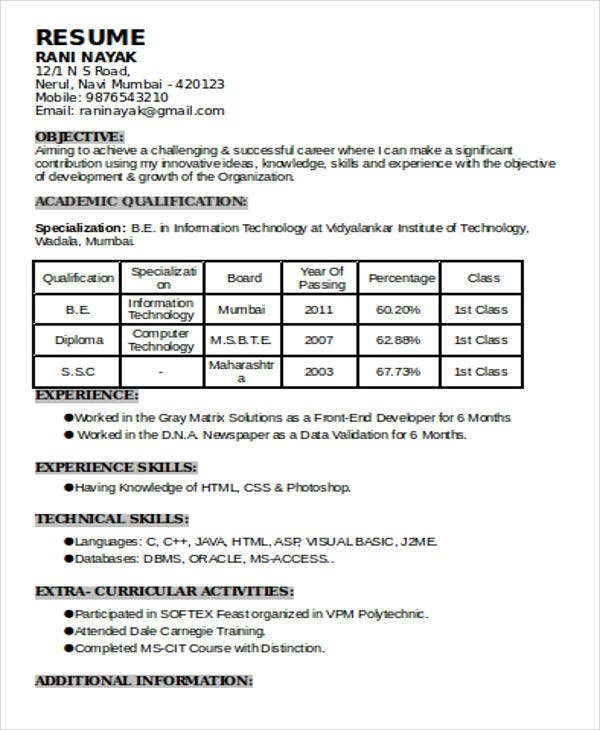 Resume With Experience Format Mca Resume Format For Experience