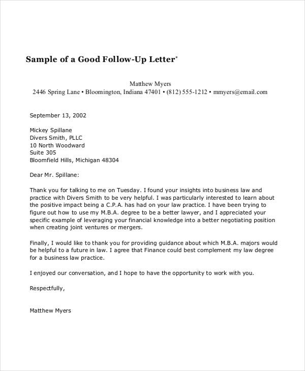 58 sample business letters doc pdf free premium for Follow up email template for business