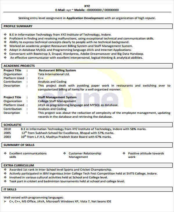 sample resume cv format