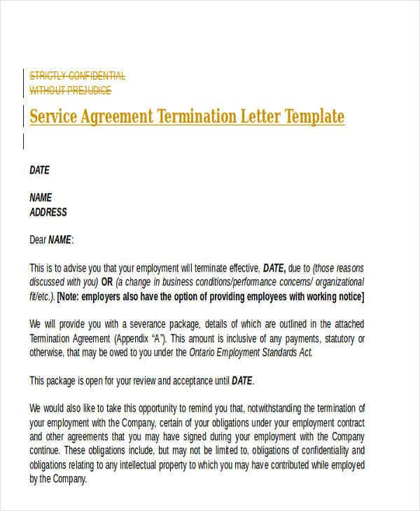 service agreement termination letter template