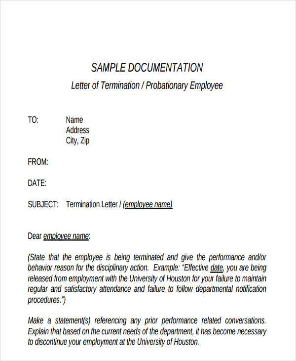 Delightful Employee Termination Letter Formats. Probationary Employee Termination Intended Employee Termination Letter Format