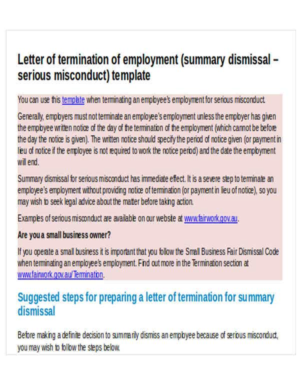 sample employee termination letter for misconduct