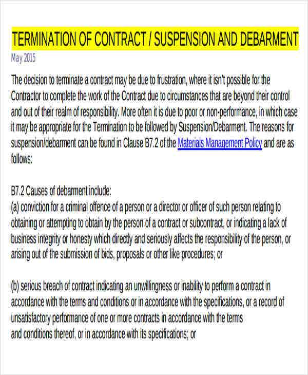 employee contract termination letter template