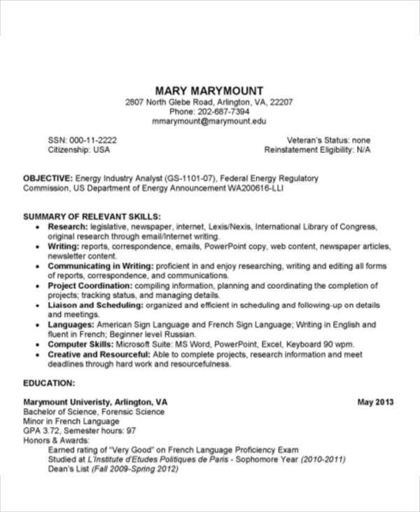 college graduate resume template - Regulatory Affairs Resume Sample