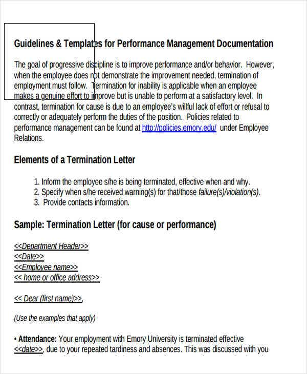 termination letter for poor sales performance