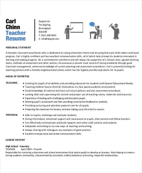 35 resume templates free professional teacher - Free Teaching Resume Template