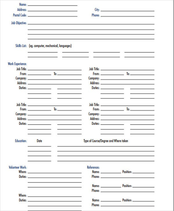 Blank Resume Fill In Blank Resume Form Best Resume Form Ideas On