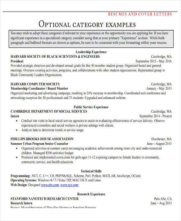 job resume cover letter example