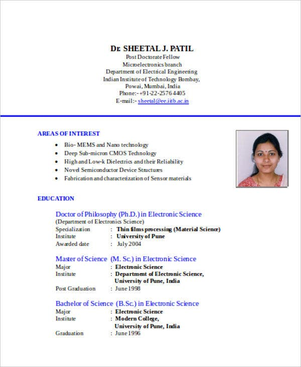 Technical Resume Format In Doc