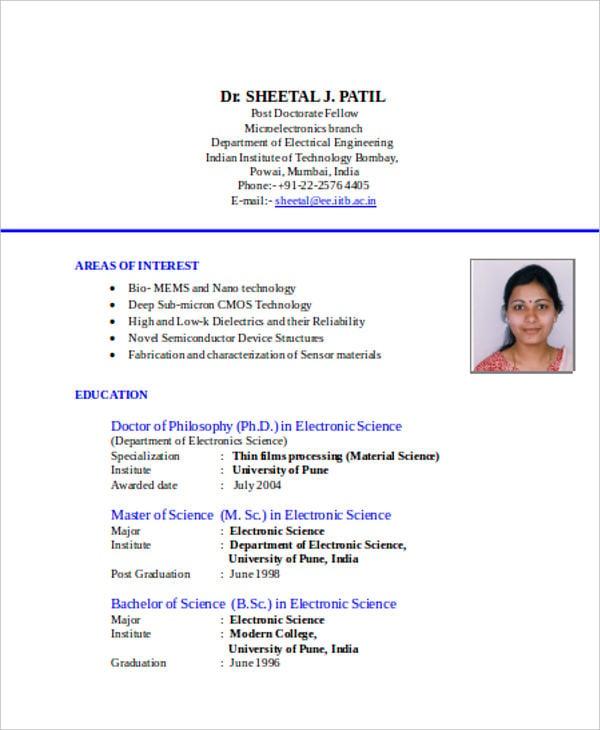 Resume In Document Format