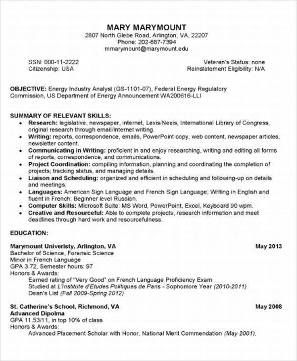 college student resume - Forensic Science Student Resume