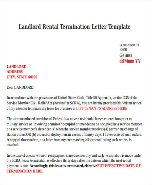 landlord rental termination letter template
