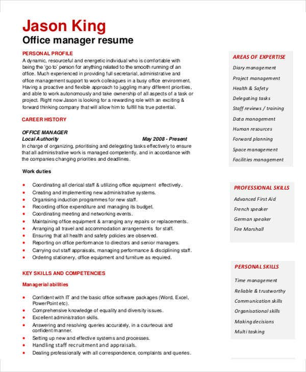 office manager resume template - Office Resume Template