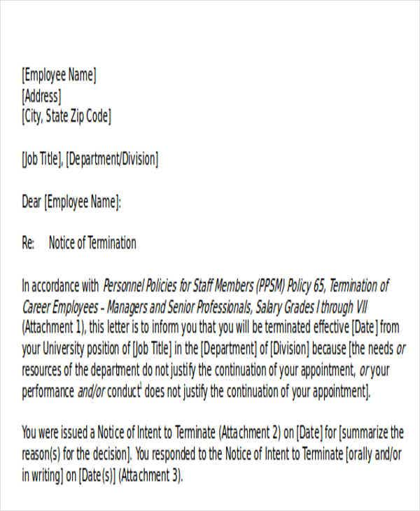 response to termination of service letter