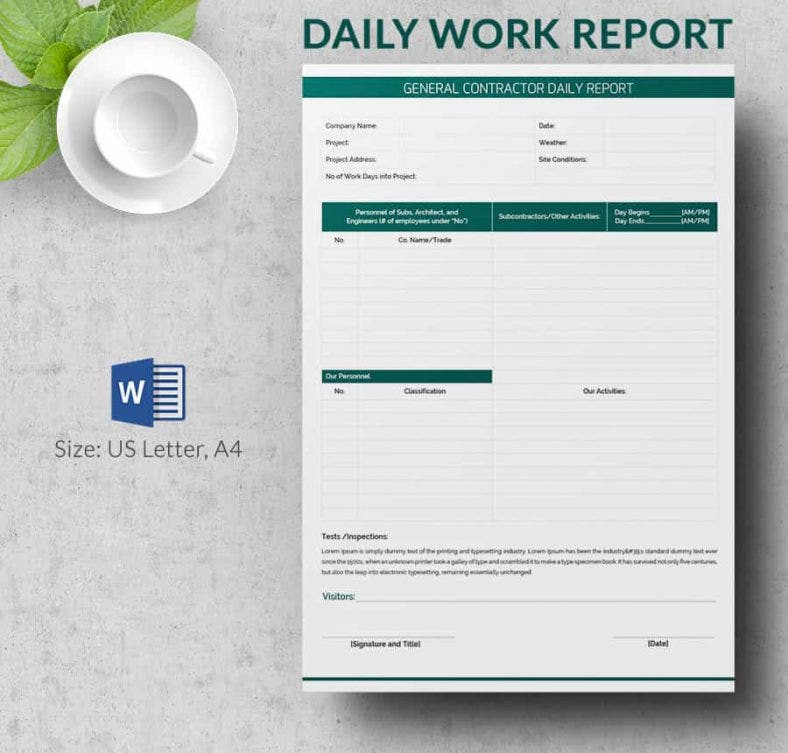 Daily Report Construction Template Printable Editable Blank – Daily Report Template Word
