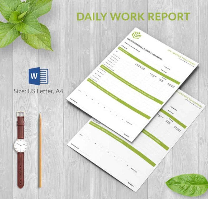 Daily Report Template 57 Free Word Excel PDF Documents – Daily Construction Report Template