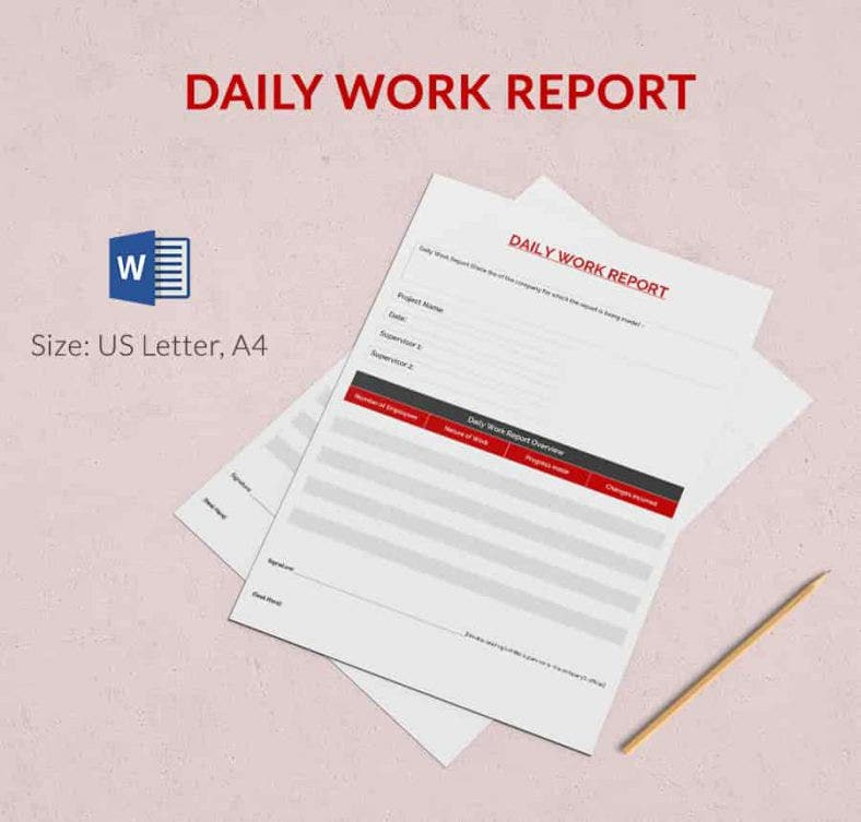 Daily Report Template 57 Free Word Excel PDF Documents – Daily Work Report Template