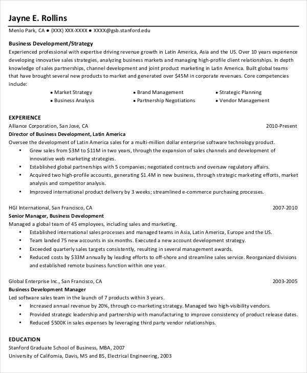 business development analyst sample resume