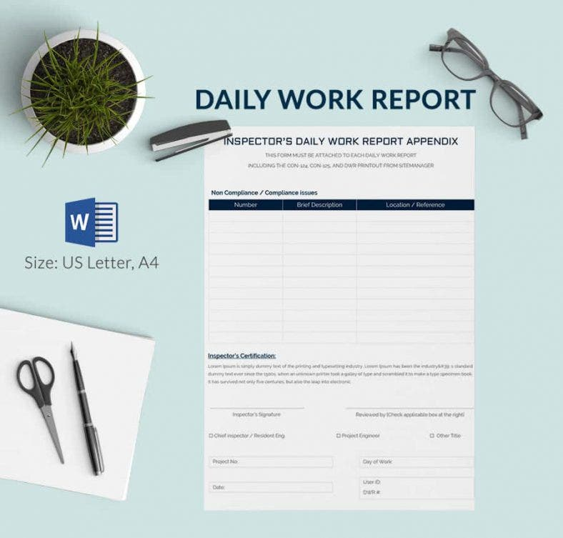 Daily Report Template 57 Free Word Excel PDF Documents – Daily Status Report Template