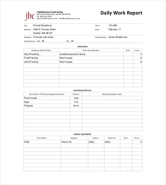 Daily Report Template 57 Free Word Excel PDF Documents – Weekly Work Report Template